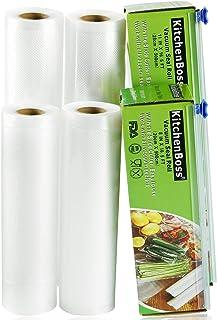KitchenBoss Sac Sous Vide Alimentaire,4 Rouleau 20cmx5M et 28cmx5M,Total 20 M,Rouleaux Sous Vide Alimentaire avec 2 Boîte ...