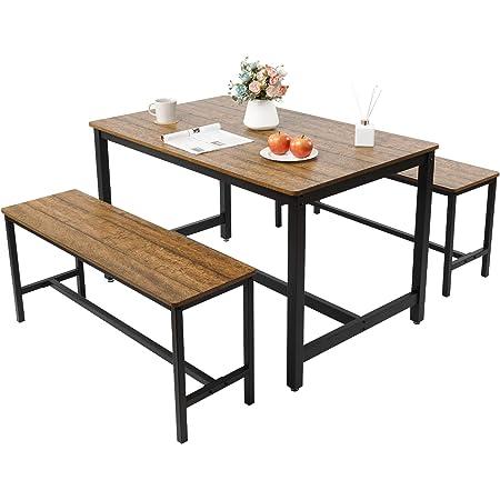 Meerveil Ensembles pour Salle à Manger, Ensemble Table et 2 bancs en Bois, 4-6 Personnes, Tables Chaises dans la Cuisine, 120 * 75 * 75cm, Marron et Noir