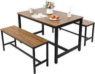 Meerveil Ensemble Table et 2 bancs, Ensemble Table à Manger et Chaises en Bois, Tables Chaises dans la Cuisine, Salle à Ma...