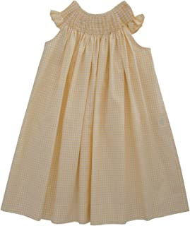Pleated and Ready to Smock Summer Girls Bishop Dress in Yellow Gingham