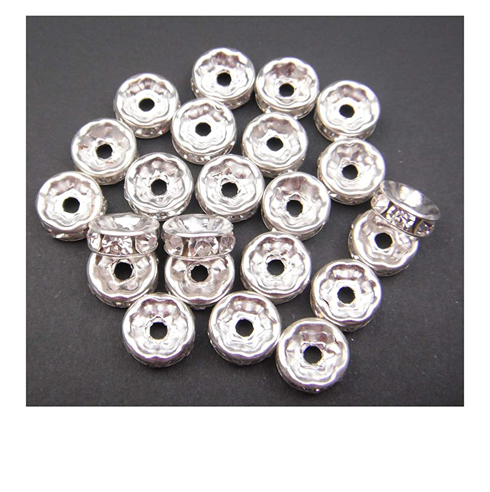 ALL in ONE Silver Plated Crystal Rhinestone Rondelle Spacer Beads for Jewelry Making (8mm)
