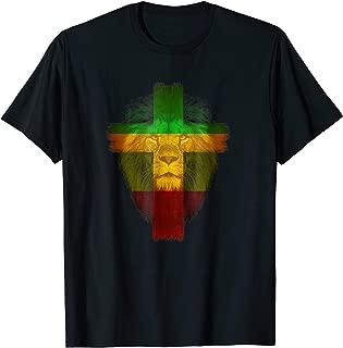 Ethiopian Flag colors on lion shirt Ethiopian Cross shirt