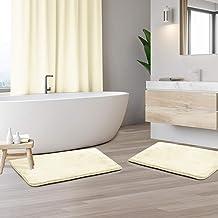 Memory Foam Bathrug 2 Pack Set - White - Bath Mat and Shower Rug Small 17 x 24 inches Non Slip Latex Free Plush Microfiber...