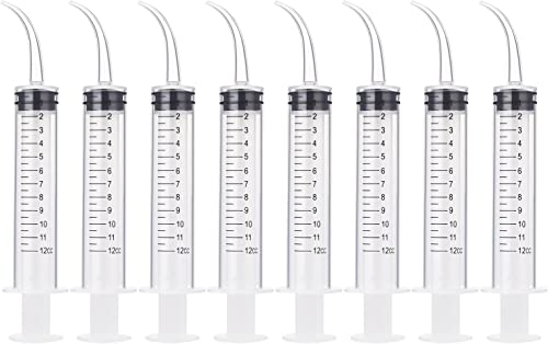 8 Pack Disposable 12cc Dental Syringe Dental Irrigation Syringe with Curved Tip, Tonsil Stone Squirt Mouthwash Cleane...