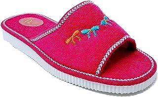 Ischia - Sandalia para mujer, chanclas de playa o piscina, 100% rizo Rosa Size: 39 EU