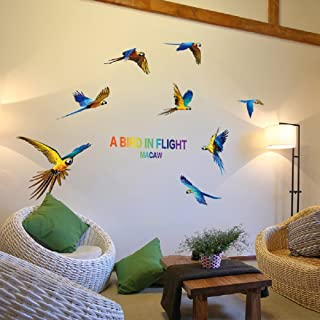 SWORNA Nature Series 8 Flying Macaw Parrot Vinyl Removable DIY Wall Art Mural Nursery Sticker Decor Decal for Baby Kids Girl Bedroom Playroom Bathroom Kindergarten Living Room Classroom 29