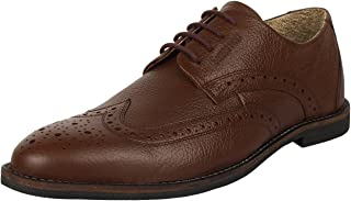 SeeandWear Brown Brogue Formal Shoes for Men Genuine Leather Pointed Lace Up Shoe