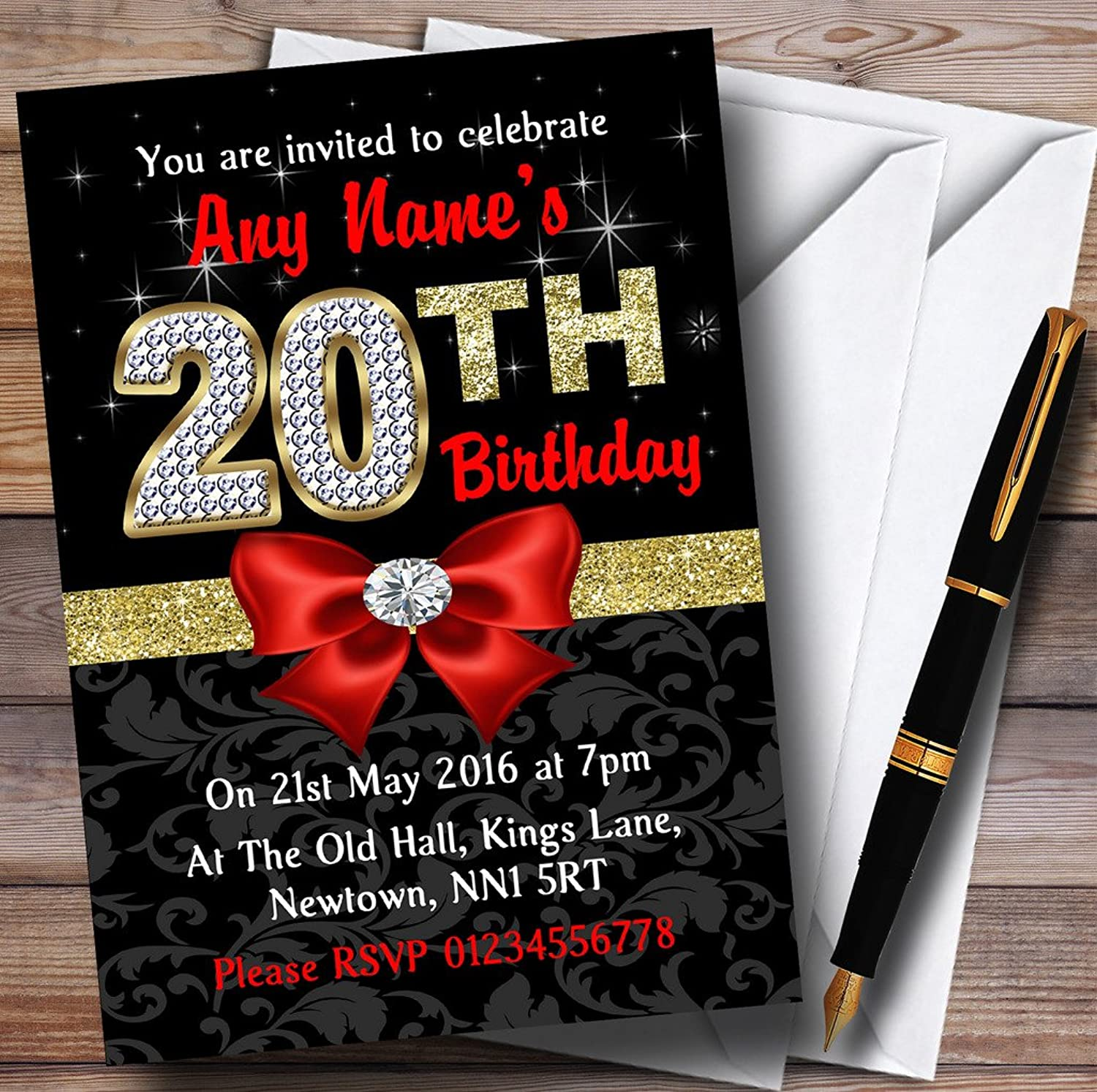 Red Black gold Diamond 20Th Birthday Party Personalised Invitations   Invites & Envelopes