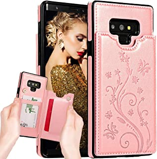 Galaxy Note 9 Wallet Case for Women/Men,Auker Slim Thin Folip Flip Leather Protective Case with Card Holder Folding Kickstand Magnetic Closure Secure Fit Purse Case for Samsung Galaxy Note 9 (RGold2)