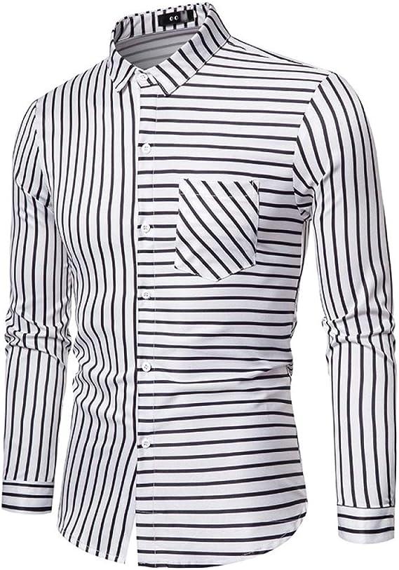 yxr - Camisa de manga larga para hombre, diseño de rayas ...