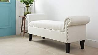 Jennifer Taylor Home Savannah Straight Line Rolled Arm Hand Finished Silver Nailhead Trim Upholstered Entry Bench, White
