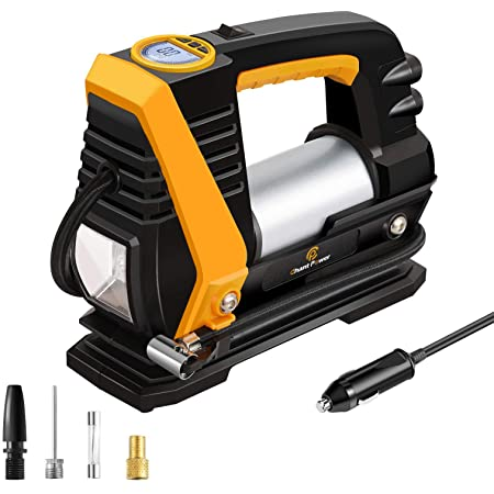 C P CHANTPOWER Tire Inflator Air Compressor,12V DC Portable Car Tire Pump with Auto Shut Off, Bright LED Light for Car Tires Bike Tires and Other Inflatables