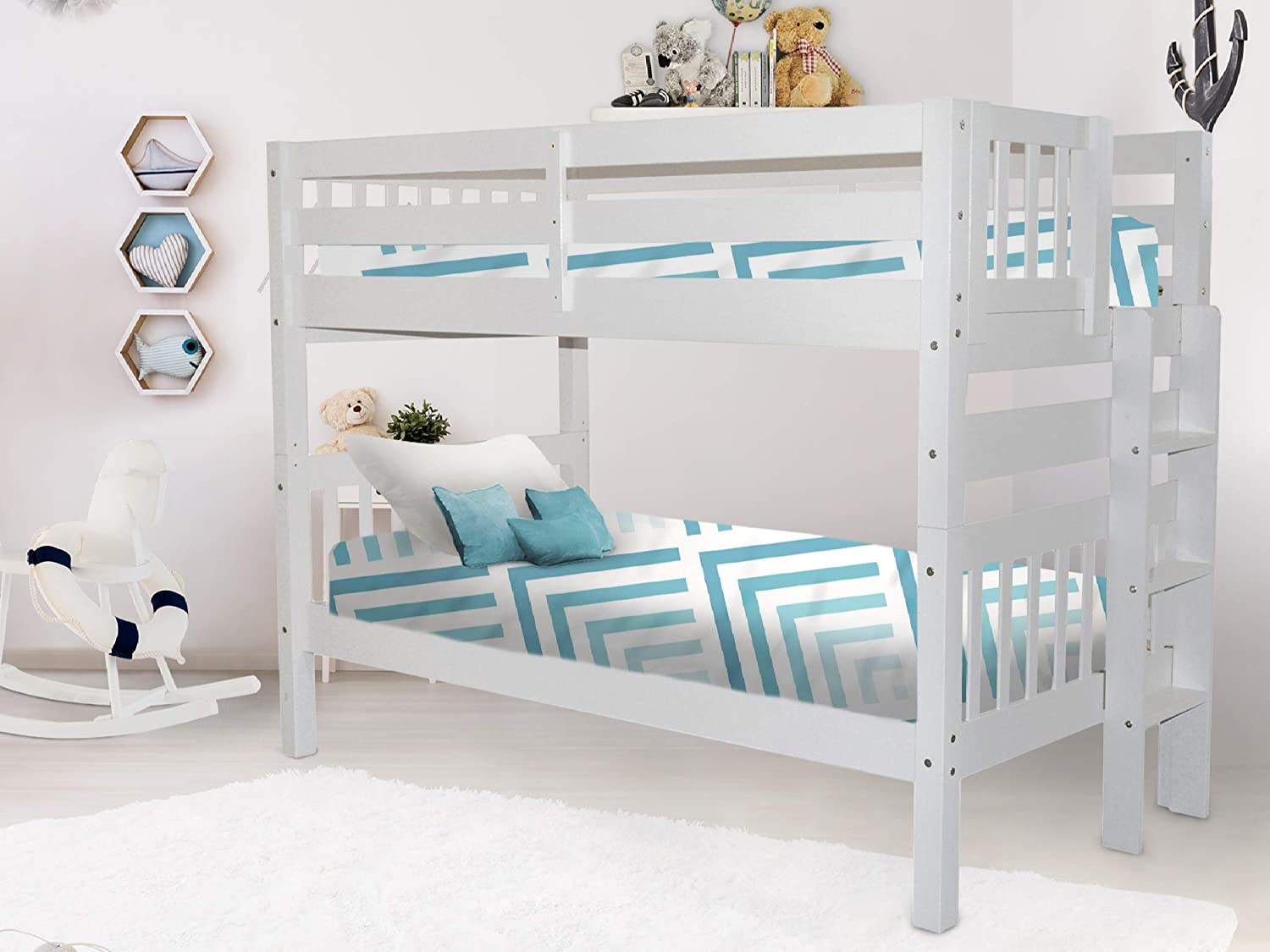 Amazon Com Bedz King Bunk Bed Twin Over Twin With End Ladder White Furniture Decor