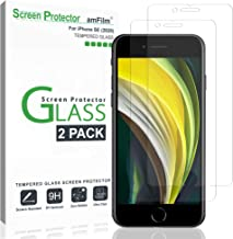 """amFilm Glass Screen Protector for iPhone SE 2020, iPhone 8, 7, 6S, 6 (4.7"""")(2 Pack) Halo Free Tempered Glass Screen Protector (2020)"""