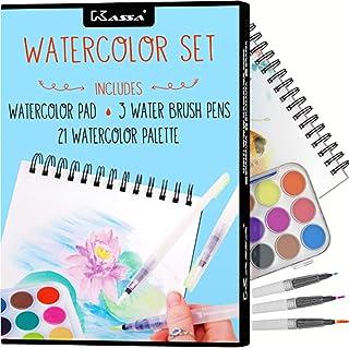 مجموعه آبرنگ Kassa - کیت لوازم آرایشی برای لوازم آرایشی برای مبتدی ها و بزرگسالان - شامل قلم های قلم مو (3 اندازه های مختلف)، پد نقاشی (30 ورق) و رنگ پان (21 آبرنگ)
