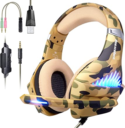$25 » Gaming Headset for PS4, Xbox One, PC, Nintendo Switch, Laptop Cellphone -Stereo Surround Gaming Headphones with Microphone, Noise Cancelling, LED Lights, Volume Control 3.5 mm Jack - Camo