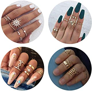 QXFQJT Knuckle Ring Set Vintage Stackable Midi Finger Rings Set for Women Girl Hollow Carved Flowers