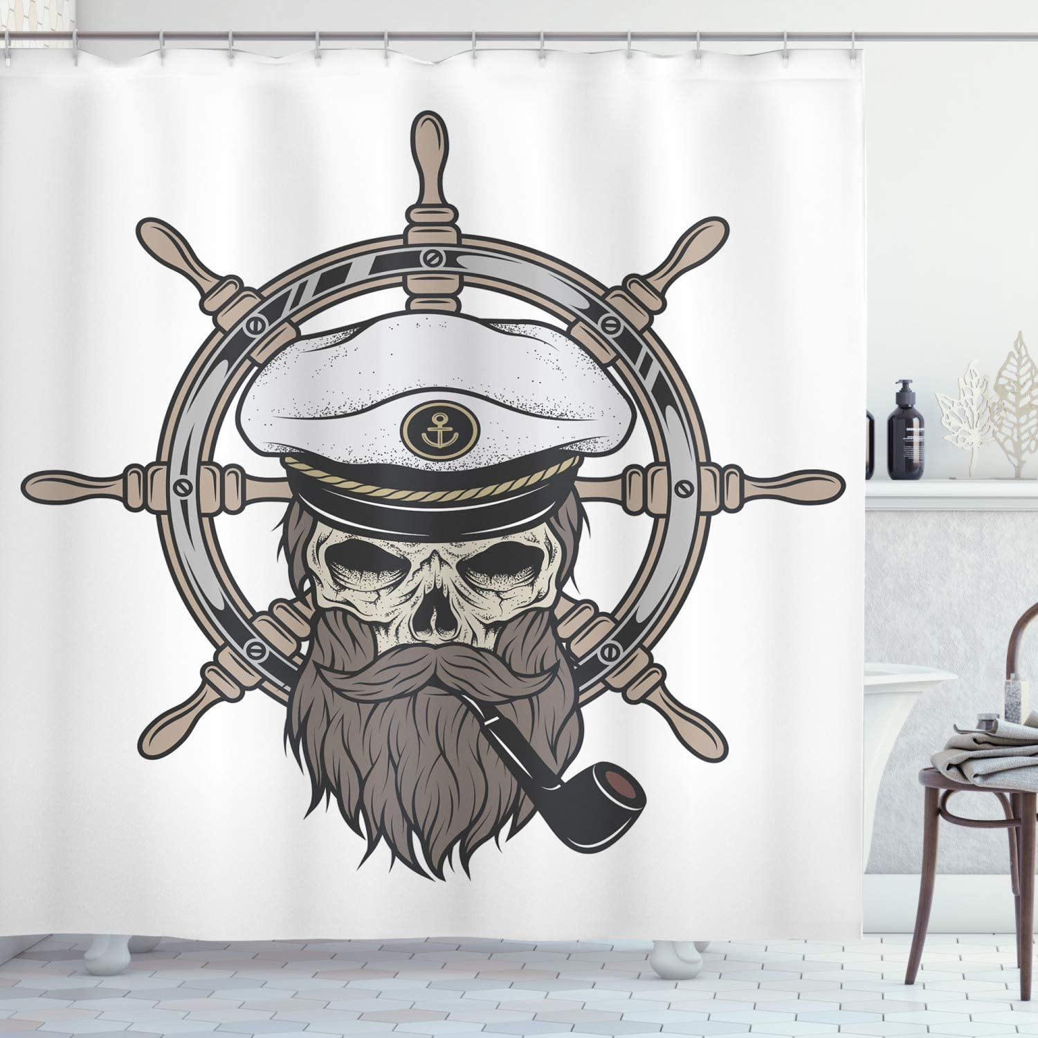 Details about  /Vintage Shower Curtain Nautical Pirate Skull Print for Bathroom