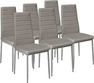 TecTake Set de 6X Sillas de Comedor con Respaldo, Muebles de Cocina Salón Bistro, Cuero Sintético, Asientos Acolchados, Nuevo