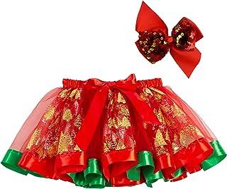 LERTREE Christmas Costume Girls Tutu Skirts Fancy Xmas Party Tulle Printed Elk Christmas Tree Dress Skirt for Girls