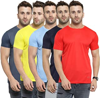AWG Men's Light Weight Dryfit Polyester Sports Round Neck t-Shirts - Pack of 5