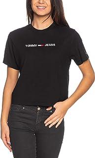 تي شيرت عصري للنساء من تومي هيلفجر جينز مع شعار العلامة التجارية