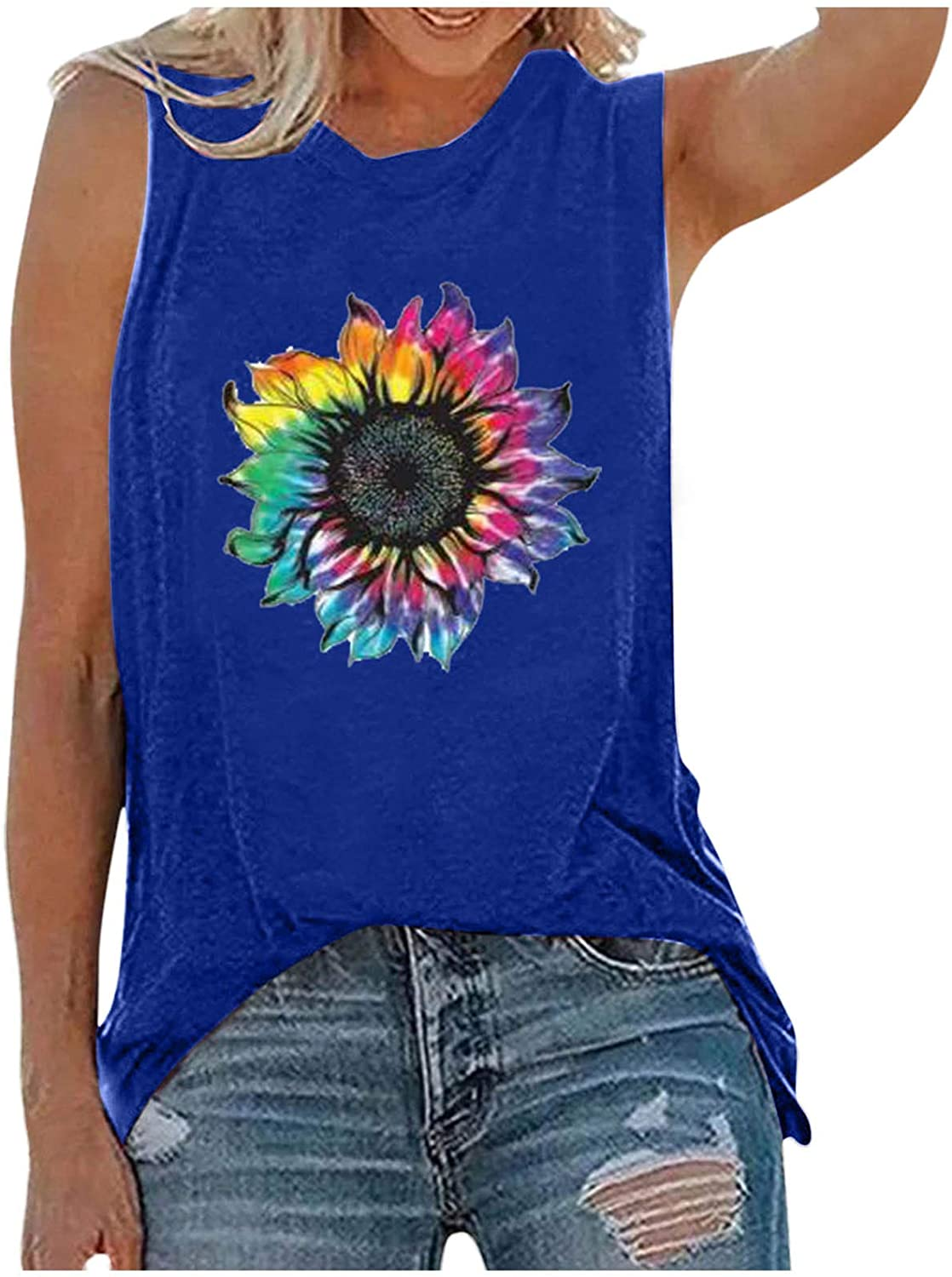 AODONG Summer Tops for Women, Womens Casual Summer Graphic Tank Tops Floral Printed O-Neck Sleeveless Loose Tee Shirts