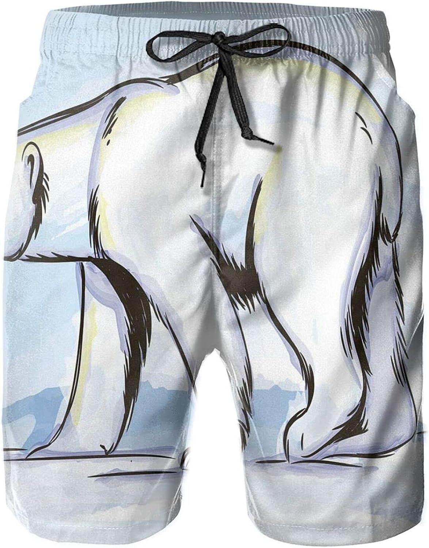 Hand Drawn Pencil Sketch of Bear Side Shot Mens Swim Trucks Shorts with Mesh Lining,XXL