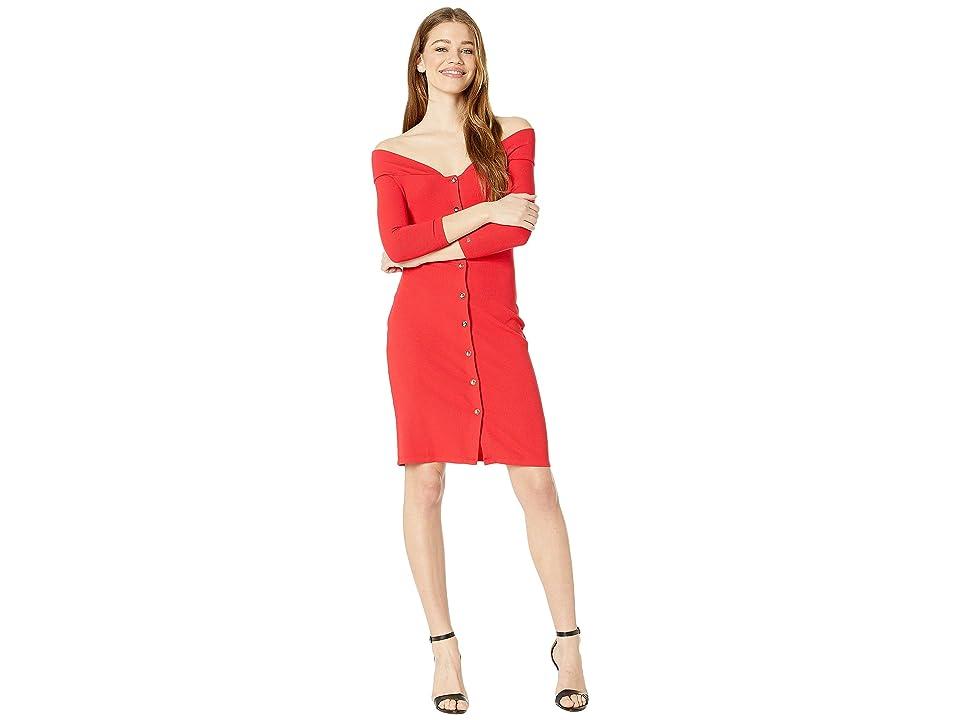 Bebe Off Shoulder Mini Dress (True Red) Women
