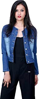 G.S.A ENTERPRISES Round Chinese Collar Full Sleeves Dark Blue Women Jacket