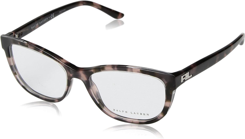 Ralph Lauren Sunglasses Women's Acetate Woman Optical Frame Rectangular Sunglasses, Top Trasparent Pink Havana, 54 mm