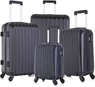 Fridtrip Set of 4 Lightweight Luggage Set ABS Travel Rolling Spinner Hard Shell Suitcases (LM Black 4 PCS)