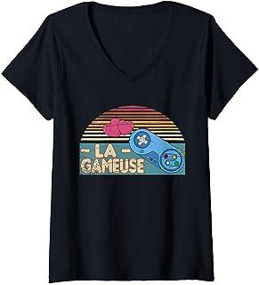 Femme Jeux Vidéo Joueur Console Fille Gamer Gameuse Retro Gaming T-Shirt avec Col en V