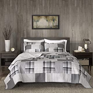 3 Piece Oversized Black Grey White Full Queen Quilt Set, Patchwork Pattern Reversible Bedding Tartan Plaid Themed Checkered Winter Cozy Stylish Cabin Lodge Cottage Warm Gray Stripe, Percale Cotton