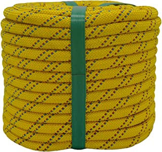 "YUZENET Braided Polyester Arborist Rigging Rope (3/8"" X 100') Strong Pulling Rope for Climbing Sailing Camping Swings,Yell..."