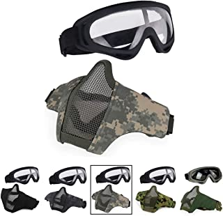 Aoutacc Airsoft Half Face Mesh Mask and Goggles Set for CS/Hunting/Paintball/Shooting