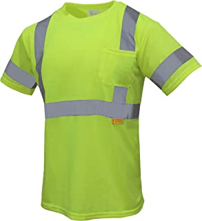 TROY-9082 High Visibility Reflective Short Sleeve Safety T Shirt Class 3 ANSI Certificate (Lime, 2XL)