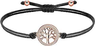 ZENI Pulsera Árbol de la vida Mujeres Niñas Cobre Zirconia cúbica Charm con cadena de cordón de filigrana, Hecho a mano