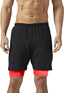 VIIOO Men's 2-in-1 Running Workout Training Basketball Athletic Shorts
