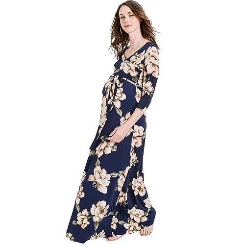 4a69ce0b02fd5 Hello MIZ Women's Floral Print Draped 3/4 Sleeve Long Maxi Maternity Dress