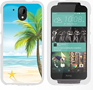 TurtleArmor | Compatible with HTC Desire 526G Case | Desire 526 Case [Slim Duo] Fitted Ultra Slim Hard Cover Case Snap On Shell Protector Beach Design on White - Beach Shore