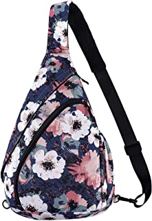 Enterlife Sling Bag Multipurpose Waterproof Crossbody Backpack Shoulder Daypack Casual Traveling Hiking Chest Bag(Vintage flowers)
