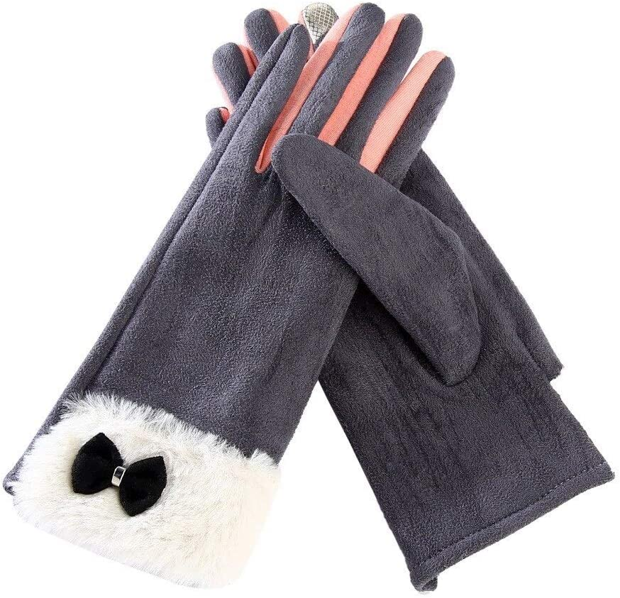 FASGION 2019 Luxury Gloves for Women Bowknot Winter Warm Gloves Mittens Elegant Lady Winter Gloves Solid PU Leather Gloves Women Gloves (Color : Gray)