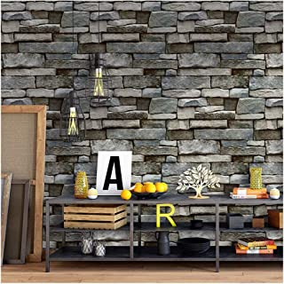 HaokHome 620633-3M Faux Stone Wallpaper Peel and Stick Wall Murals Grey/Blue 17.7