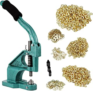 BEAMNOVA Grommet Machine Hand Press Tool Eyelet Kit W/ 3 Dies (#0#2#4) of 1/4, 3/8, 1/2 Inch (6, 10, 12mm), 900 Golden Grommets