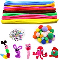 104Pcs Self-Sticking Wiggle Googly Eyes and 40Pcs Sparkle Balls for DIY Art Craft Decorations Creative School Projects FKEYTO DIY Art /& Craft Project Set 100Pcs 10 Colors Pipe Cleaners Craft