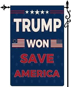 COSKAKA Trump Won Save America Again Garden Flag, Vertical Double Sided Trump 2024 Burlap Rustic Farmhouse Yard Outdoor Flag Decor 12.5 x 18