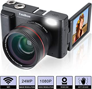 Camara Foto Digital Full HD 1080PFamBrow WiFi 24MP Camara de Video Digital Zoom 16xGran Angular Lente Rotación de 3.0 Pulgadas