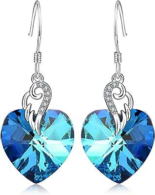 Ciondolo in argento Sterling a forma di cuore gancio orecchini pendenti