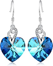 AOBOCO Sterling Silver Love Heart Dangle Drop Earrings with Swarovski Crystals Fine Jewelry Gift for Women Girls